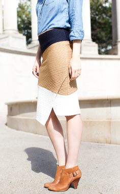 Chambray blouse and @anthropologie skirt -- @isntthtcharming #Fashion