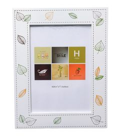Pristine White MDF Wood Photo Frame Embellished with Delicate, Beautiful Leaves All Around - Available in 4 sizes (4 by 6, 5 by 7, 6 by 8, 8 by 10)