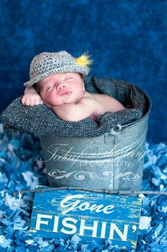Hat Baby Gone Fishin' Newborn to Toddler by ForgetMeKnotsCrochet Country Newborn Photography, Children Photography, Newborn Pictures, Baby Pictures, Cute Pictures, Funny Baby Photos, Cute Photos, Newborn Sibling, Newborn Session