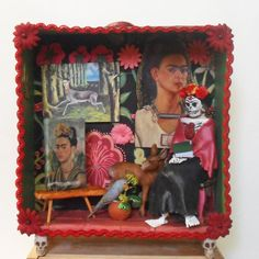 Frida Kahlo Day of the Dead Shadow Box Diorama by Nacreous Alchemy #CreativePaperclay