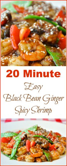 Easy Black Bean Ginger Spicy Shrimp - A 20 minute meal that the whole family will love. Faster than take out! Serve with steamed rice or Chinese noodles.