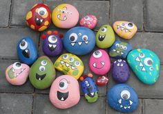 painted rocks | love how expressive the faces are.