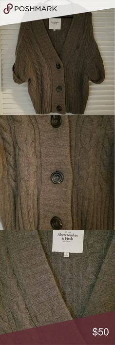Abercrombie and Fitch Cardigan 40% Wool 30% Viscose 20% Rabbit Hair and 10% Cashmere Abercrombie and Fitch cardigan.  In excellent pre loved condition.  The style and fit is very chic, perfect for someone who loves A&F. Abercrombie & Fitch Sweaters Cardigans