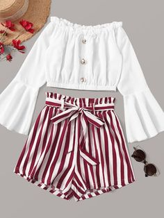 Button Front Off Shoulder Top With Striped Belted Paperbag Shorts - Summer Outfits Outfits Teenager Mädchen, Cute Teen Outfits, Teenage Girl Outfits, Cute Comfy Outfits, Girls Fashion Clothes, Teen Fashion Outfits, Cute Summer Outfits, Outfits For Teens, Pretty Outfits