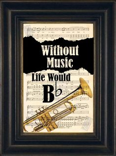 Music Lovers Brass Trumpet  Without Music Life by ForgottenPages, $8.00