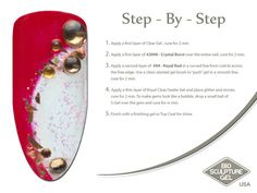 Red & gold step-by-step Bio Sculpture Nails, Royal Red, Gel Nail Art, Nail Art Galleries, Mani Pedi, Nail Tech, Red Gold, Fun Nails, Nail Art Designs