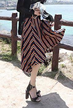 Unbalance skirts  #KOODING.com #unbalance #skirts #summer #stripe