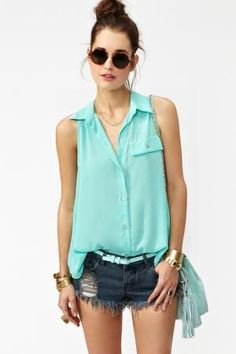 Button Up Tail Top in What\'s New at Nasty Gal