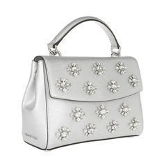 MICHAEL Michael Kors Ava Jewel SM Tophandle Satchel Silver Glitter & Sparkle bei Fashionette