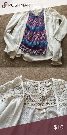 Cute cardigan Lace detailing at the top. Breathable material. Like new condition ❤️ Self Esteem Sweaters Cardigans