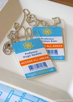 Science Party - ID BADGES Printable via Etsy would be great for kids to wear to party...put in invitation