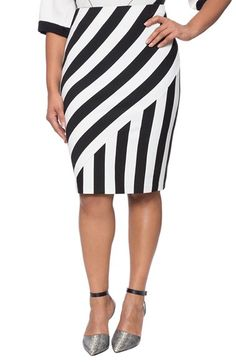 ELOQUII Stripe Pencil Skirt (Plus Size) available at #Nordstrom