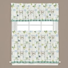 Love these!!! Very pretty!!!! Garden Discovery Kitchen Window Curtain Tiers and Valance in White - BedBathandBeyond.com