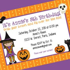 Digital Printable Little Witch Invitation, Halloween Party Invitation, Custom Wording, Print Yourself...