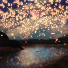 Love Wish Lanterns Art Print $19
