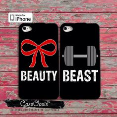 Beauty Beast Pair Couple Case Bow Weights Gym Workout Cute iPhone 4/4s Case and iPhone 5/5s/5c Case and Wallet Case and iPhone 6 and 6 Plus by CaseOasis on Etsy https://www.etsy.com/listing/200755582/beauty-beast-pair-couple-case-bow