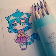 the pencils are not named, the buy in a china shop, and I do not know what type of the paper, but it is a little rough ówo) ♥ #chibi #kawaii #nekomimi #traditional #instaanime #instadraw