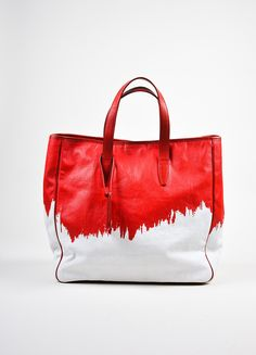 Red and White Yves Saint Laurent Rive Gauche Canvas