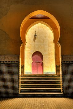 Africa | Multiple doorways in the Mausoleum of Moulay Ismail - Meknes, Morocco. | © Jon Bauer