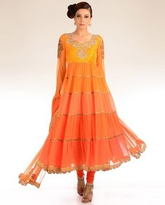 Tiered Orange Kalidar Suit with Embroidered Yoke Pakistani Outfits, Indian Outfits, Indian Clothes, Orange Crush, Yellow Fashion, Pakistani Bridal, Salwar Kameez, Indian Fashion, Orange Color