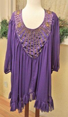 Denim 24/7 Embellished Ruffled Swing Festival Blouse 24W Purple/Gold Plus #Denim247 #SwingBlouse #Clubwear