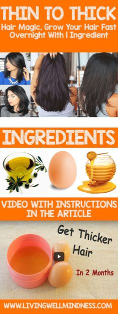 Thin To Thick Hair Magic, Grow Your Hair Fast Overnight With 1 Ingredient (Video) - Global Health ABC Hair Growth Tips, Hair Care Tips, Natural Hair Care, Natural Hair Styles, Natural Beauty, Tips For Thick Hair, Thick Long Hair, Get Thicker Hair, How To Grow Your Hair Faster