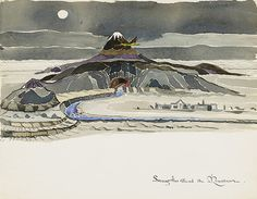'Smaug Flies Round the Mountain'. The Hobbit as JRR Tolkien imagined it – in pictures.  When The Hobbit was first published almost 75 years ago, JRR Tolkien provided a set of wonderful illustrations. But buried among the author's papers were 110 drawings, watercolours and sketches, some of which have never been published before.