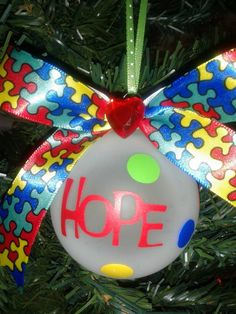 FREE SHIPPING Autism Awareness Ornament by ElegantlyCentered