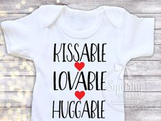 Baby Boy Valentines Day Shirt Boy Valentines Day Bodysuit Boy Valentine's Clothes, Kissable Huggable Lovable, Black and Red, Sized NB-7T