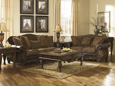 Ashley Furniture 63100 38 35 2 Pc Fresco Collection Two Tone Antique Fabric  And Bonded Leather Upholstered Sofa And Love Seat Set With Rounded Arms And  Wood ...