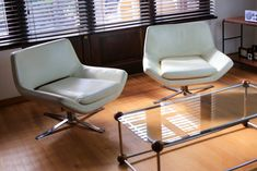 Italian Modern Leather and Chrome Swivel Chairs