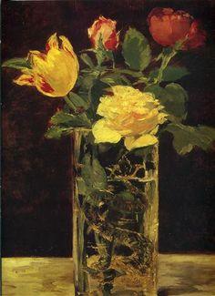 Rose und Tulpe - Edouard Manet