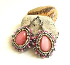 Bead Embroidery earrings with Pink Czech glass by CrownofStones, €33.00