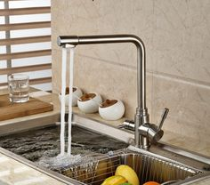 99.20$  Buy now - http://alilyz.worldwells.pw/go.php?t=32433851063 - Brushed Nickel Kitchen Faucet Vessel Sink Mixer Tap Pure Water Swivel Spout Deck Mounted 99.20$