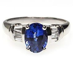 ESTATE NATURAL BLUE SAPPHIRE & DIAMOND ENGAGEMENT RING SOLID 14K WHITE GOLD