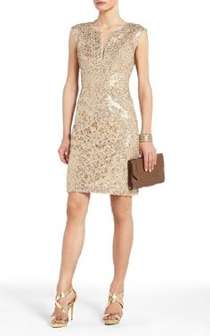 BCBG Gold Kaya Floral Sequined Cocktail Dress BD0101138