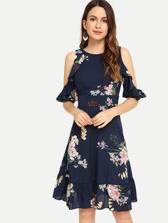 Cold Shoulder Floral Ruffle Hem Dress -SheIn(Sheinside) - Cold Shoulder Floral Ruffle Hem Dress -SheIn(Sheinside) Source by NevaKT - Belted Shirt Dress, Tee Dress, Tribal Print Dress, Combo Dress, Lace Sleeves, Fit Flare Dress, Nice Dresses, Sundresses, Ruffles