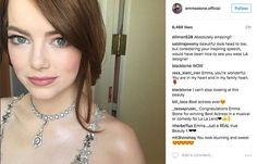 tutto il look è ispirato al film che le ha fatto vincere il Golden Globes, La La Land. La sua make-up artist, Rachel Goodwin ha spiegato come l'idea era quella di creare qualcosa di femminile, romantico ma con un tocco di lucentezza.