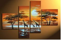 4 Pics African Grassland Large Modern Abstract Hand Painted Oil Painting on Canvas Wall Art Deco Home Decoration (Unstretch No Frame) Hand Painting Art, Large Painting, Oil Painting Abstract, Abstract Wall Art, Abstract Landscape, Sunset Landscape, China Painting, Painting Canvas, Landscape Paintings