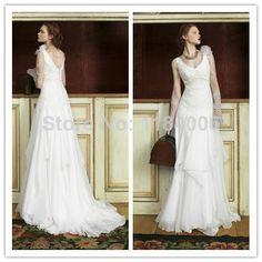 2014 New Sexy A-Line V-Neck chiffon Wedding Dresses   XK-055 $157.99