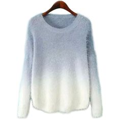 Grey Gradient Color Long-sleeved Casual Knitwears ($18) ❤ liked on Polyvore featuring tops, sweaters, long sleeve sweaters, long sleeve tops, knitwear sweater, blue top and blue sweater