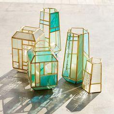 Paneled Glass Lanterns - White/Gold/Yellow | west elm