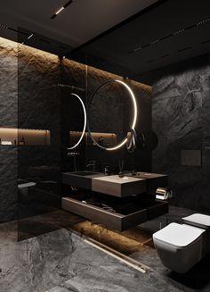 Dark grey apartment on Behance Washroom Design, Toilet Design, Bathroom Design Luxury, Modern Bathroom Decor, Modern Bathroom Design, Gothic Bathroom, Modern Design, Home Room Design, Dream Home Design