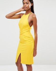 9ec79ee43d0 Lavish Alice Wrap Front Plunge Back Detail Midi Dress at asos.com