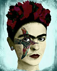Frida Kahlo Hummingbird Poster Instant Digital Download Art Print  Boho Mixed Media Collage Blue Maroon Red Black White Portrait Headband