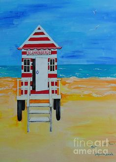 """These little """"DRESSING ROOMS"""" were situated on the beach back in the country of my birth, Belgium. As a young girl, I used to rent these out to the tourists, as a job during my Summer breaks from school. Very sweet memories The original painting is signed by me. Painted by PainterArtistFIN  when I lived in Daytona Beach, FL. where I was often reminded of """"Blankenberge Belgium""""."""
