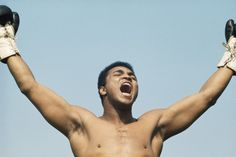"""Ali, 1972  -  Michael J. Fox: """"When he declared himself 'The Greatest,' he didn't say the greatest boxer, athlete or horse's ass for that matter — he didn't care. He supplied the adjective; selecting the appropriate noun was your business. He just said, 'The Greatest of All Time.' And I agree.""""  Michael J. Fox is an Emmy Award–winning actor and Parkinson's activist."""