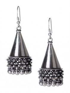 Pair of Gypsy/Conical Silver Jhumkis