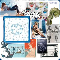 Lazy days on the beach or the board of a yacht, retro stars in beautiful swimsuits, anchors and boats, deep blue waves - we love sea and the IRIDA Waves scarf is the best way feel the breezy atmosphere even in the city!