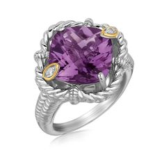 18K Yellow Gold and Sterling Silver Rope Edge Cushion Amethyst and Diamond Ring